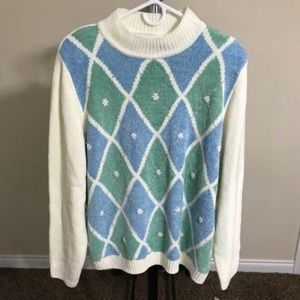 NWOT Alfred Dunner Sweater Ivory/Blue XL